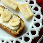 bananas on banana bread on plate