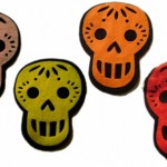 These cute felt skulls are colorful and playful.  These would be great on a bag or shirt!