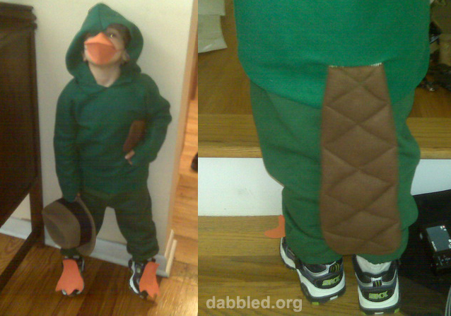 dabbled agent p the boy�s perry the platypus costume