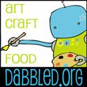 Dabbled Robot Button - 125 pixels square