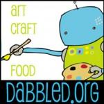 Dabbled Robot Button - 200 pixels square