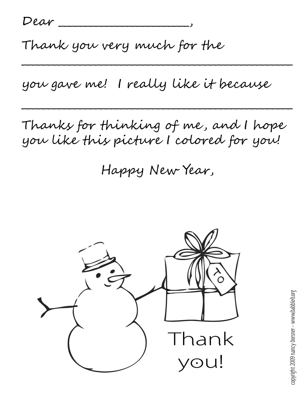 printable holiday thank you note template for kids black and white version color your own snowman