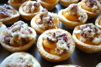Ready to be cooked: Sweet Potato Tartlets w Macadamia-Cranberry topping