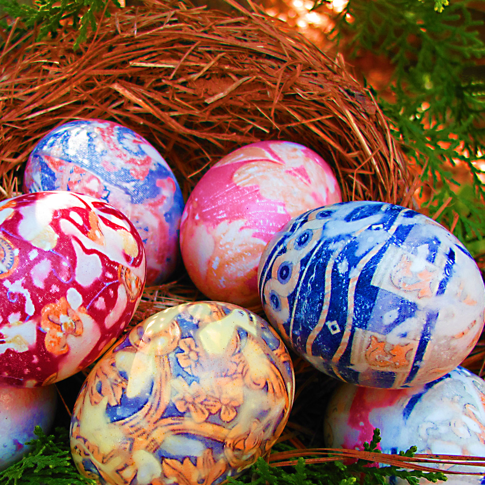 Silk Tie Dyed Eggs Dabbled