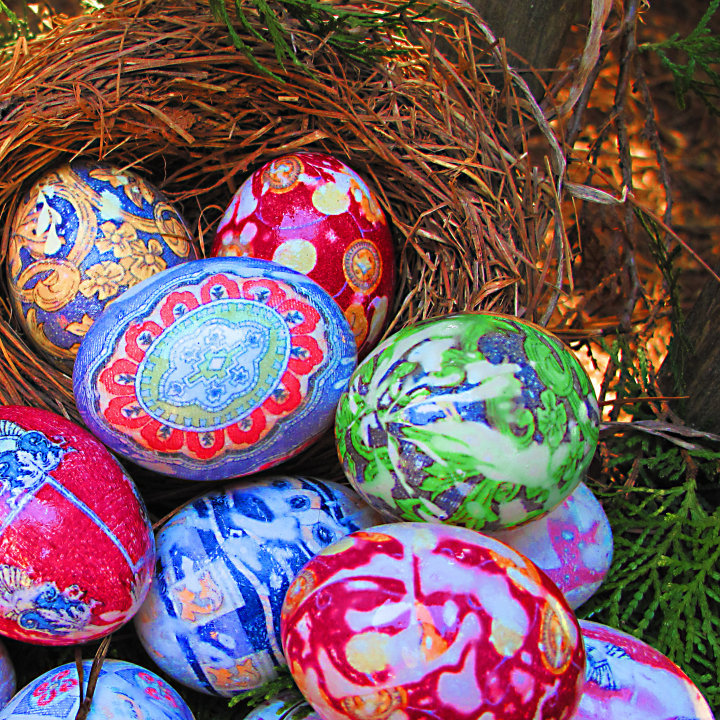 dabbled silk tie dyed eggs