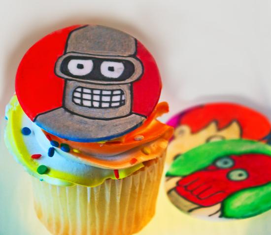 Futurama Bender Cupcake Toppers Dabbled