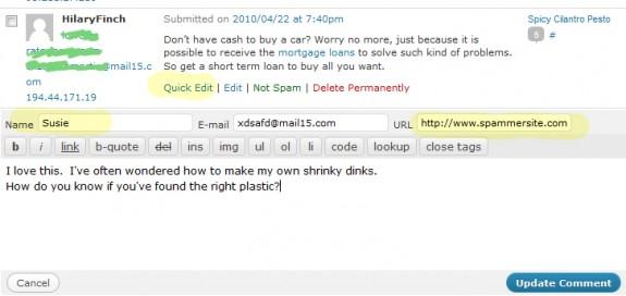 Delinking a Spammer in WordPress