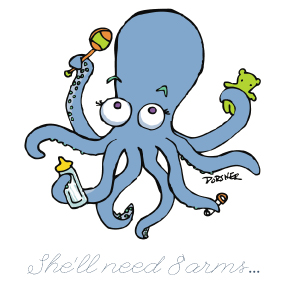 Photoshop class scanned line drawing to finished colored for Baby octopus cartoon