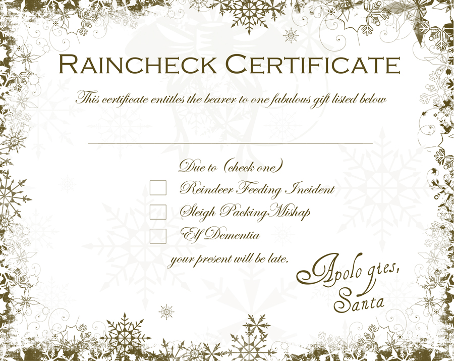 Santa raincheck certificate free downloadable dabbled santa raincheck for when the gift is late yadclub Images