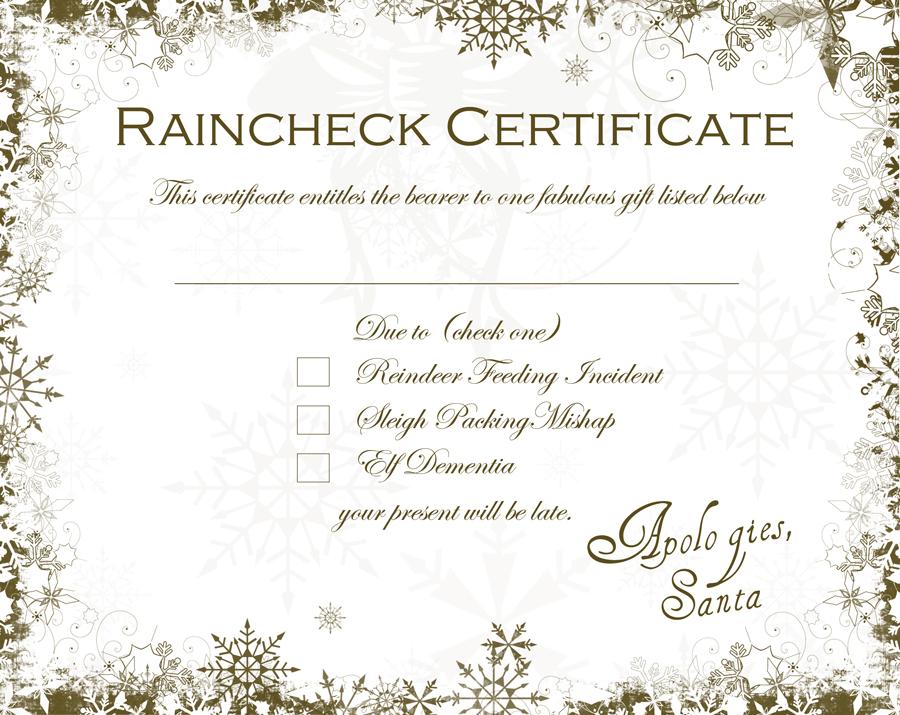 Rain Check Certificate