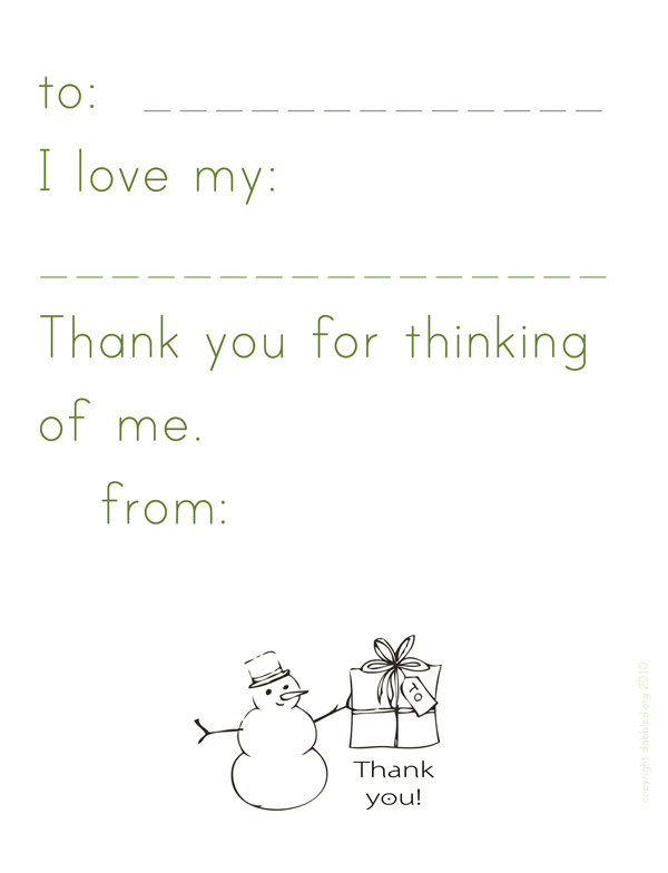 Simple Thank You Note template printable (for Kindergarteners)