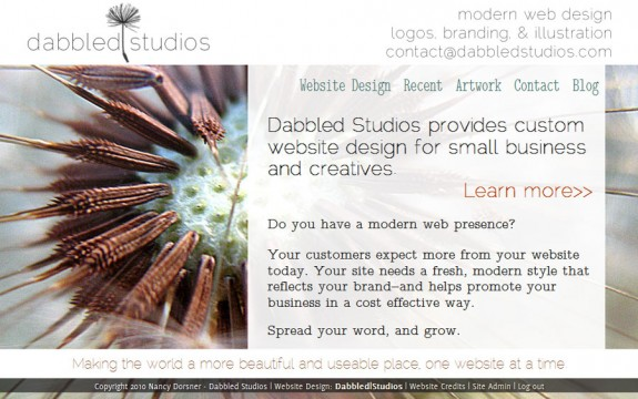 The new dabbledstudios.com website look
