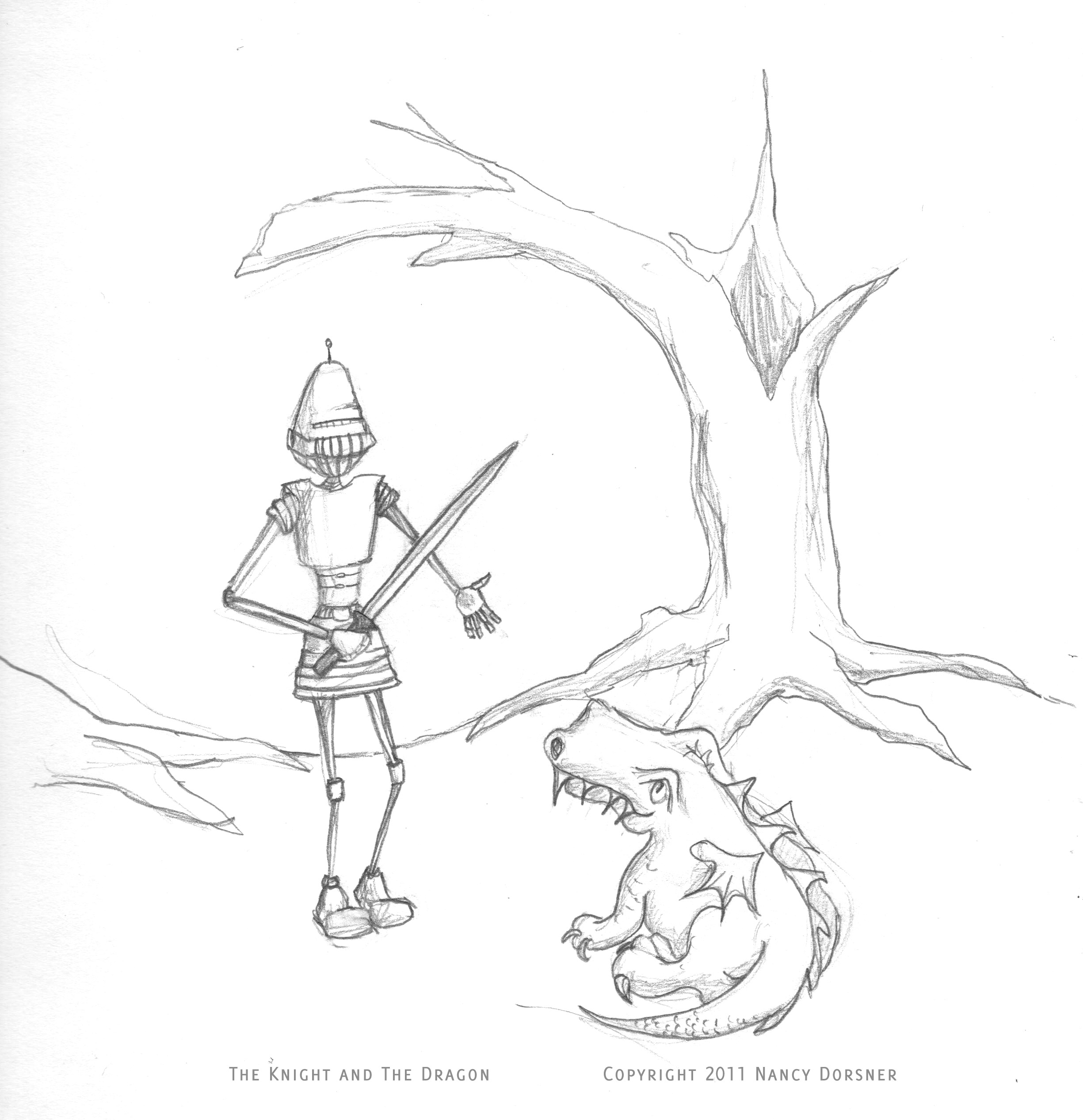 Line Drawing Knight : Sketch day knight and dragon dabbled