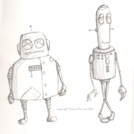2 waiting robots pencil sketch