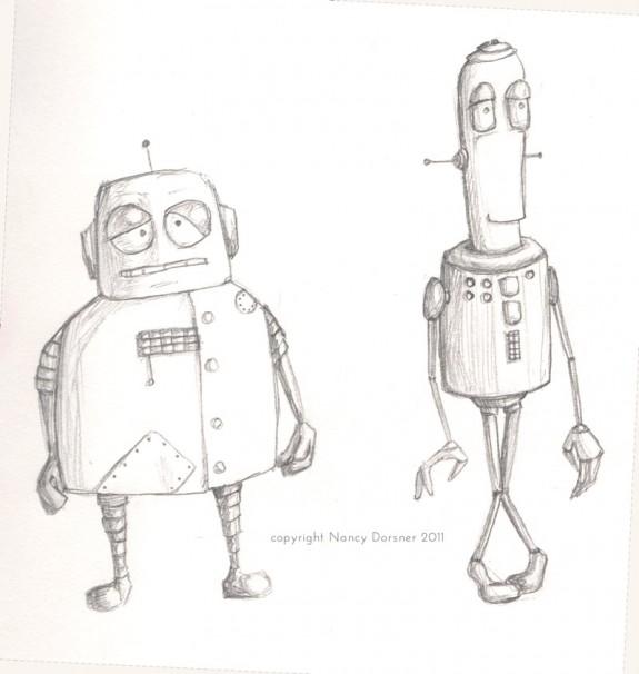 2 waiting robots pencil sketch