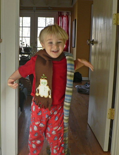 The Boy in his New Robot Scarf