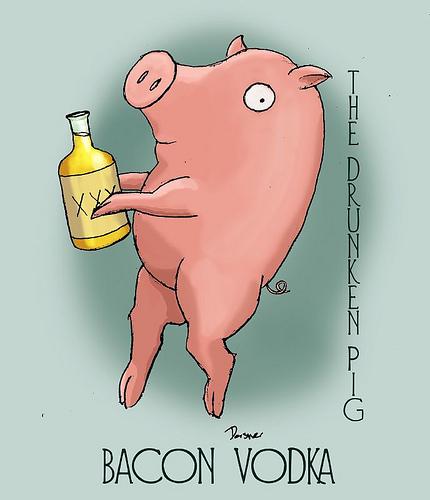 Drunken Pig - Bacon Vodka label
