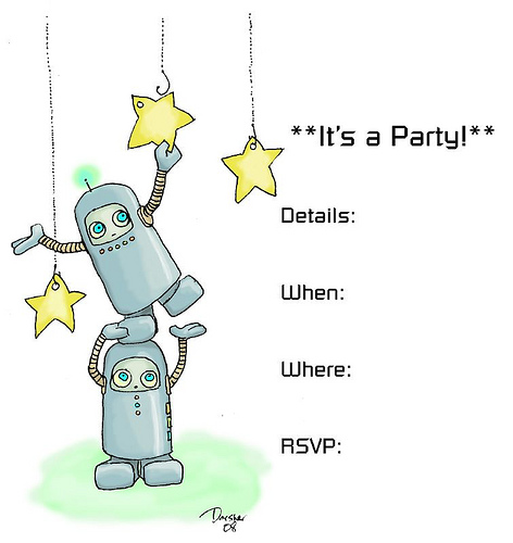 Robot Spaceman Party Invitation. To download, click through to flickr,