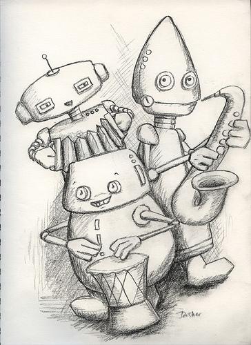 Original sketch, robot band