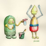 Robot Bathtime - or an excuse to try out my new watercolor pencils