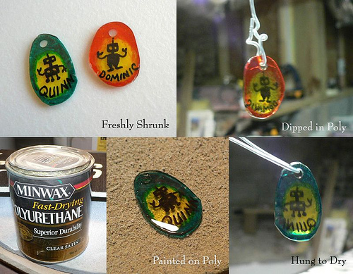 Recycled Shrinky Dink sealing experiments, first try