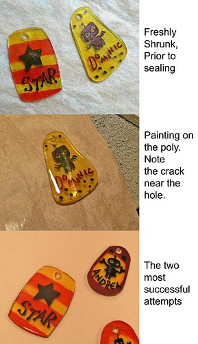 Recycled Shrinky Dink sealing experiments, 2nd try with Poly