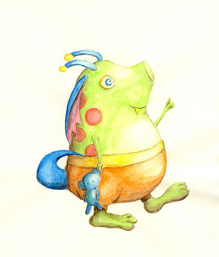 Watercolor pencil - Little Monster