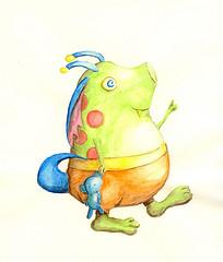 Watercolor pencil - Little Monster