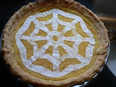 Decorating the Lemon Pie- Tissue paper snowflake