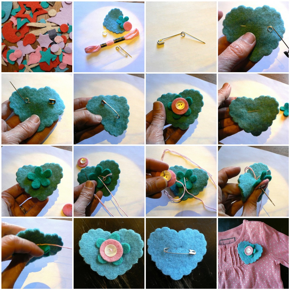 tutorial - Make a Felt Heart/Flower Pin