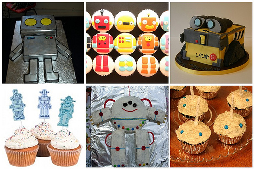 Some robot cakes from around flickr