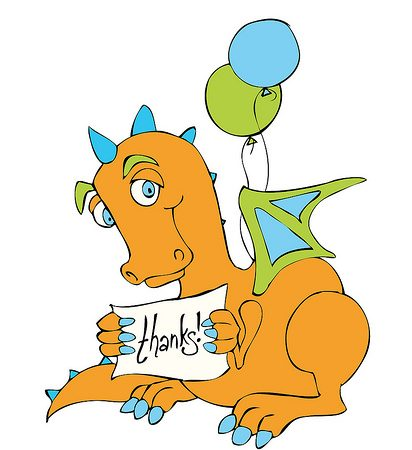 Dragon Thank you note - free download for Dragon Kids Party