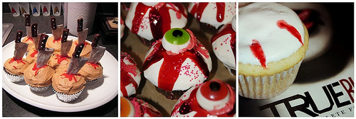 Creepy cupcakes from around flickr (for Dabbled.org)