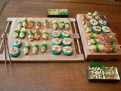 The full spread of the dessert sushi!