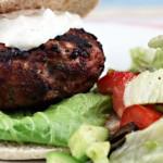 Greek turkey burgers with yogurt and feta