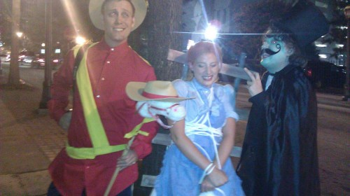 Dudley DoRight and Snidely Whiplash and Girl tied to tracks