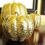 Gilded Pumpkins with Thumbtacks