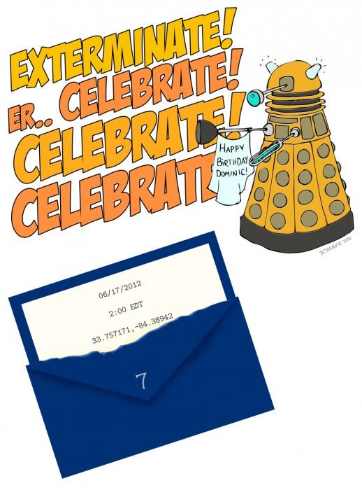 Dr. Who dalek birthday party invitation