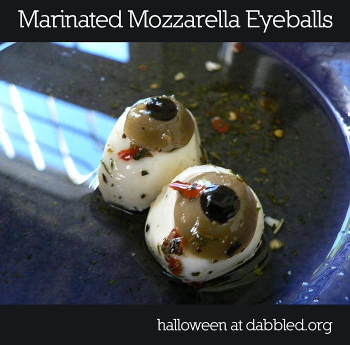 recipe marinated mozzarella eyeballs for halloween @ dabbled.org