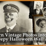 turn vintage photos into creepy halloween wall art dabbled.org