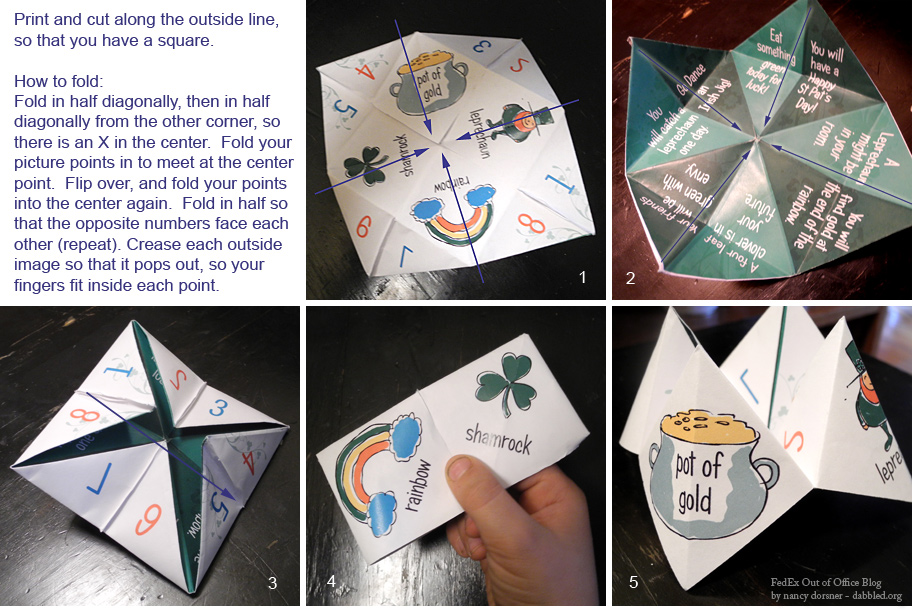 How to Fold your St. Pat's Cootie Catcher!