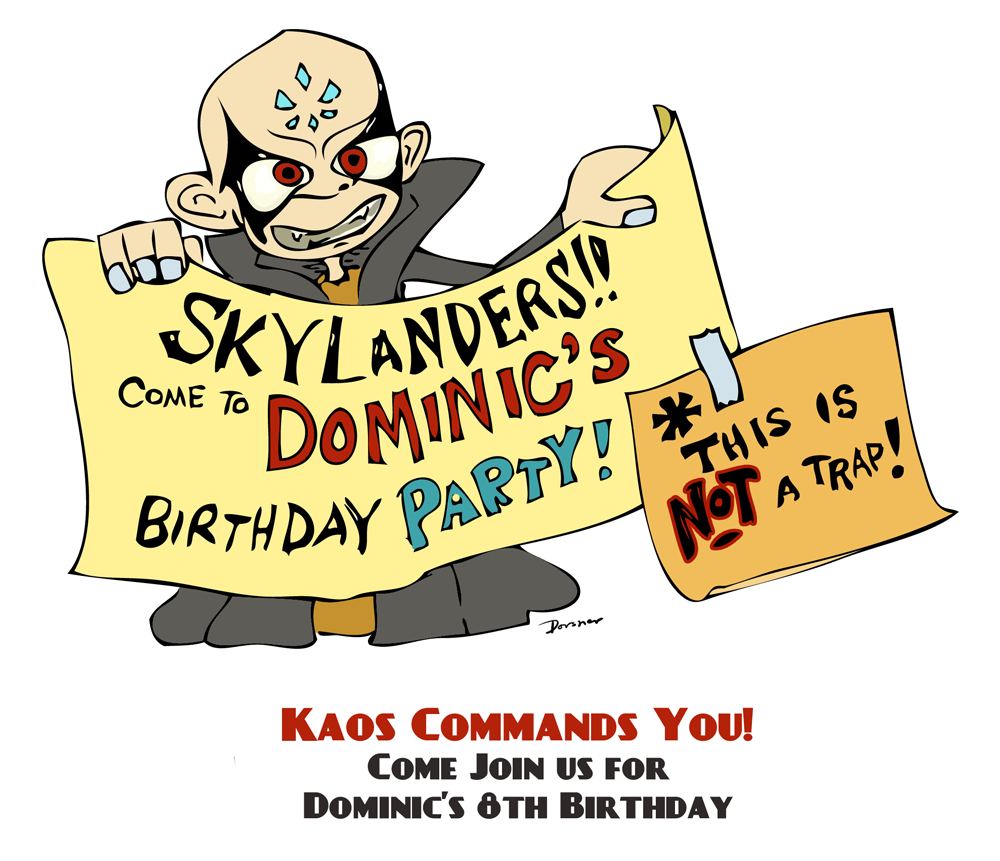 Kaos Skylanders Party Invitation Printable